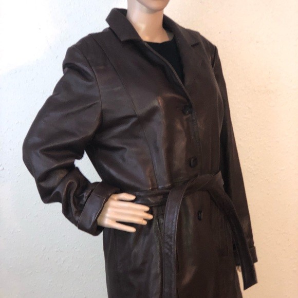 Wilsons Leather Jackets & Blazers - Wilsons Brown Leather Women's Trench Style Jacket